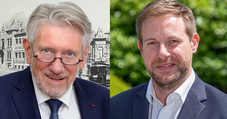 Henri Huygen van de PS (links) en zijn collega-schepen in Ans Thomas Cialone van de MR (rechts).