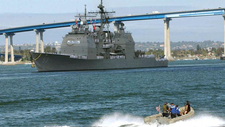 Archieffoto: een marineschip in de San Diego Bay Beeld afp