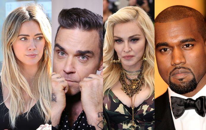 Van links naar rechts: Hilary Duff, Robbie Williams, Madonna en Kanye West.