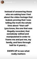 """La chanteuse a brièvement réagi à l'affaire dans sa """"story"""" Instagram."""