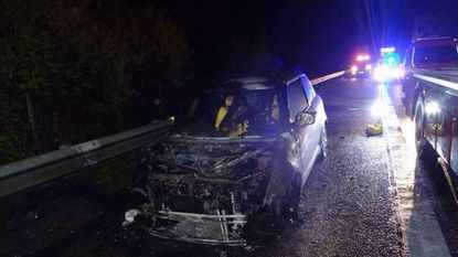 Autobrand en ongeval op E314