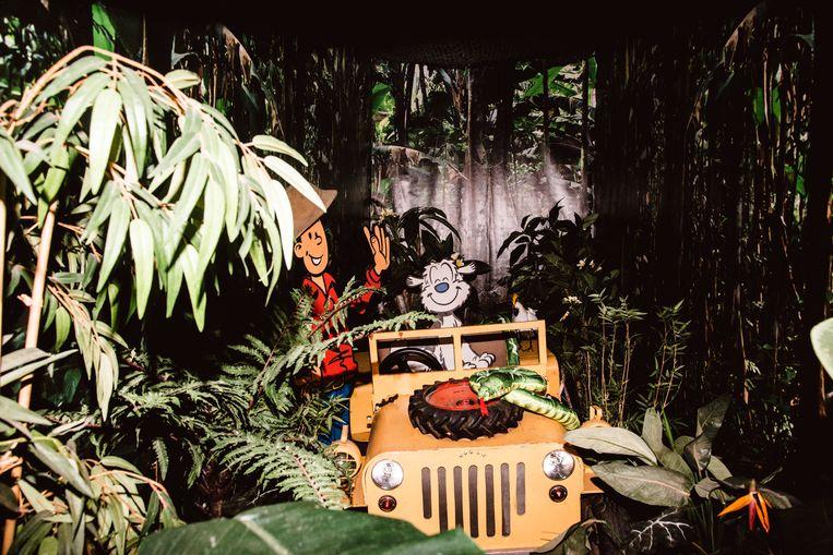 Studio 100 verhuisde haar halve decorafdeling naar de kinderzaal van Lang leve de muziek. Hier: de originele jeep uit de Samson & Gert-videoclip 'In het oerwoud'.