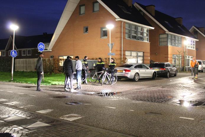 Buurtbewoners praten na over het ongeluk in Vleuterweide. Een automobilist reed door.