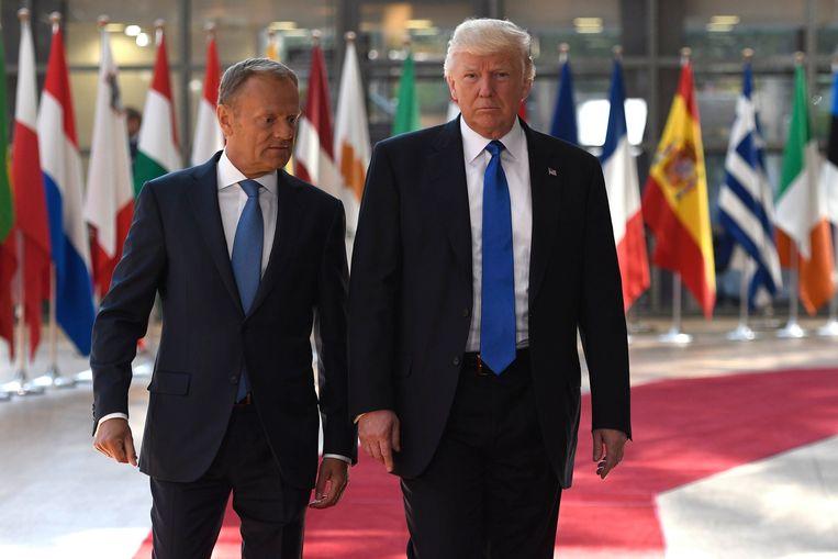 President Trump werd vandaag ontvangen door EU-raadsvoorzitter Donald Tusk. Beeld Photo News