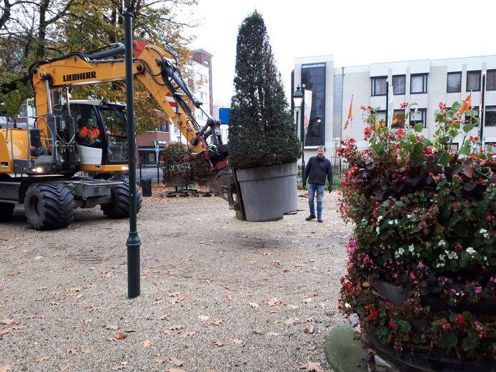 Bloementorens (rechts) in het Jan Cunenpark worden vervangen voor taxuskegels.