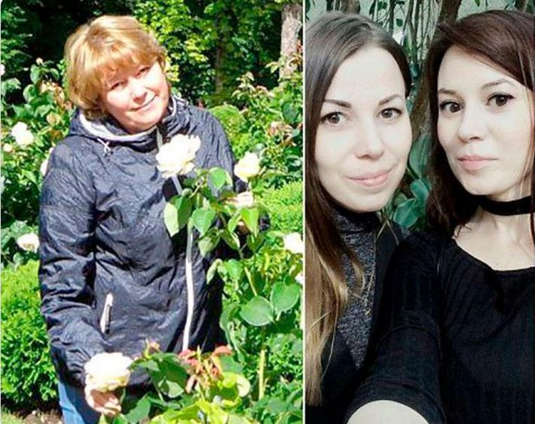 Irina Medyantseva (50) dook bovenop haar 29-jarige dochter Yelena (uiterst rechts) en redde zo haar leven. De moeder gaf haar leven om haar dochter te redden.