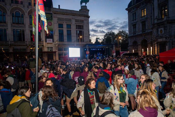 Dag van de jeugdbeweging op het Astridplein in Antwerpen