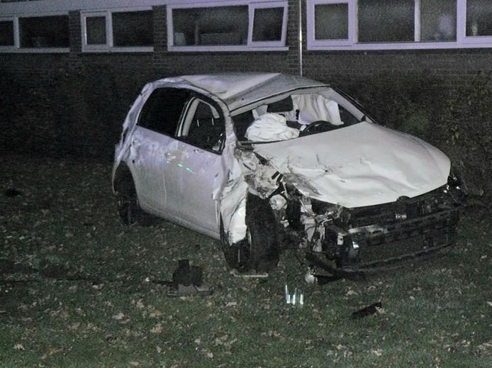 De auto na het ongeluk