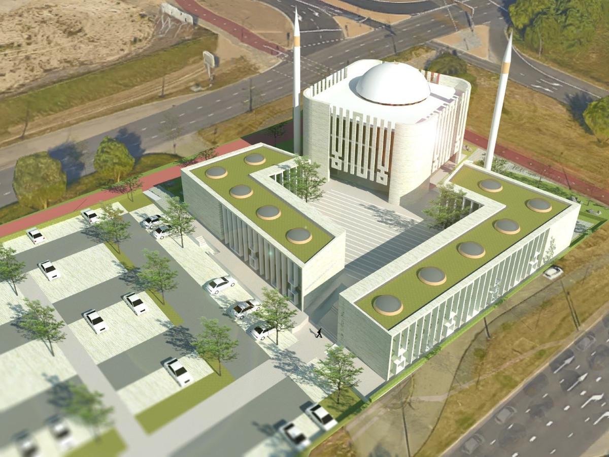 Schetsontwerp van de geplande moskee op het Jonkerbosplein.