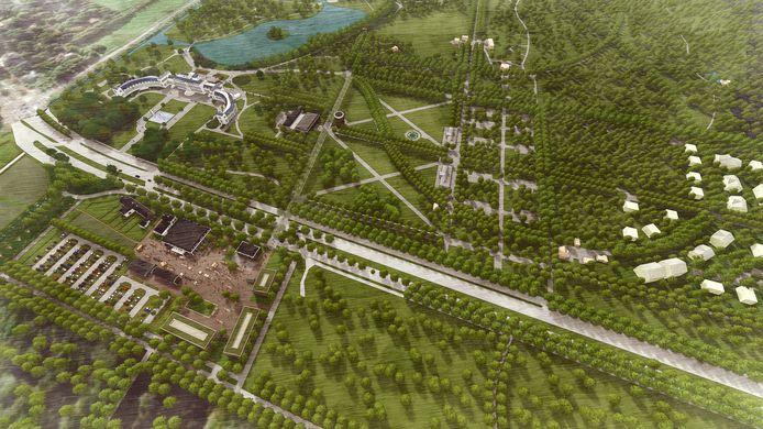 Artist impression van het masterplan van Paleis Soestdijk, tuin, terrein en woonwijk.