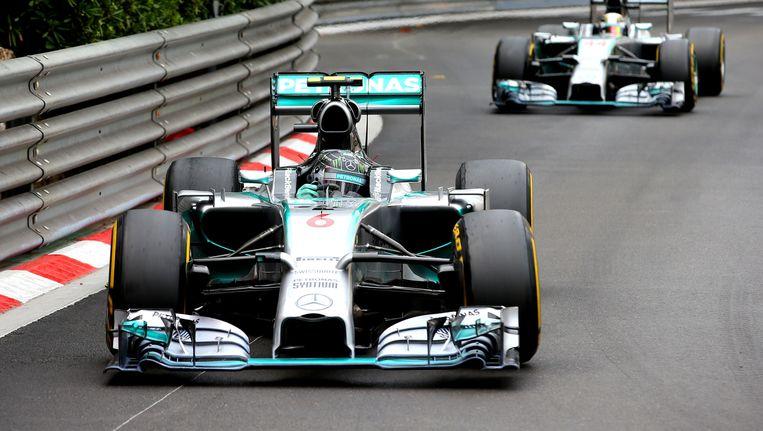 Nico Rosberg had Lewis Hamilton de hele wedstrijd in zijn zog.
