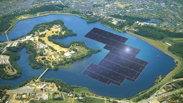 Render van het drijvende zonnepark in het Yamakura-stuwmeer in Japan, in aanbouw door Kyocera. Beeld Kyocera