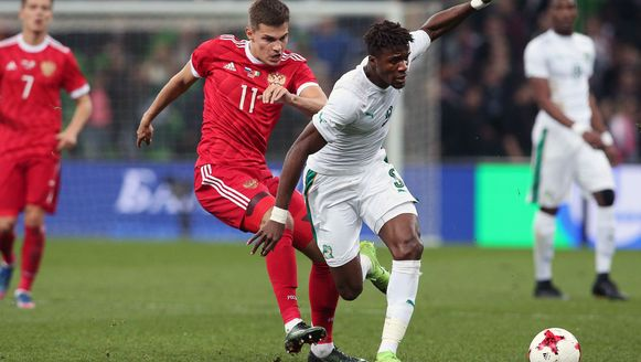 Wilfried Zaha scoorde voor Ivoorkust in Rusland.