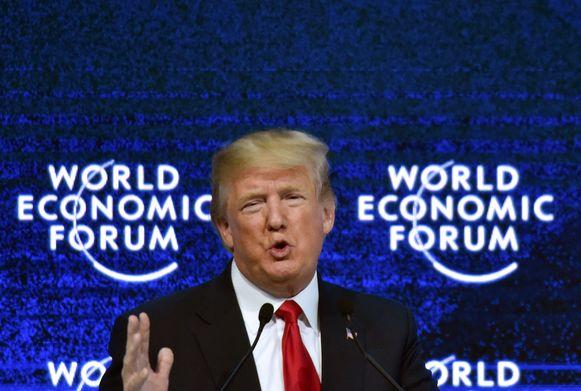 President Donald Trump op het WEF in 2018.