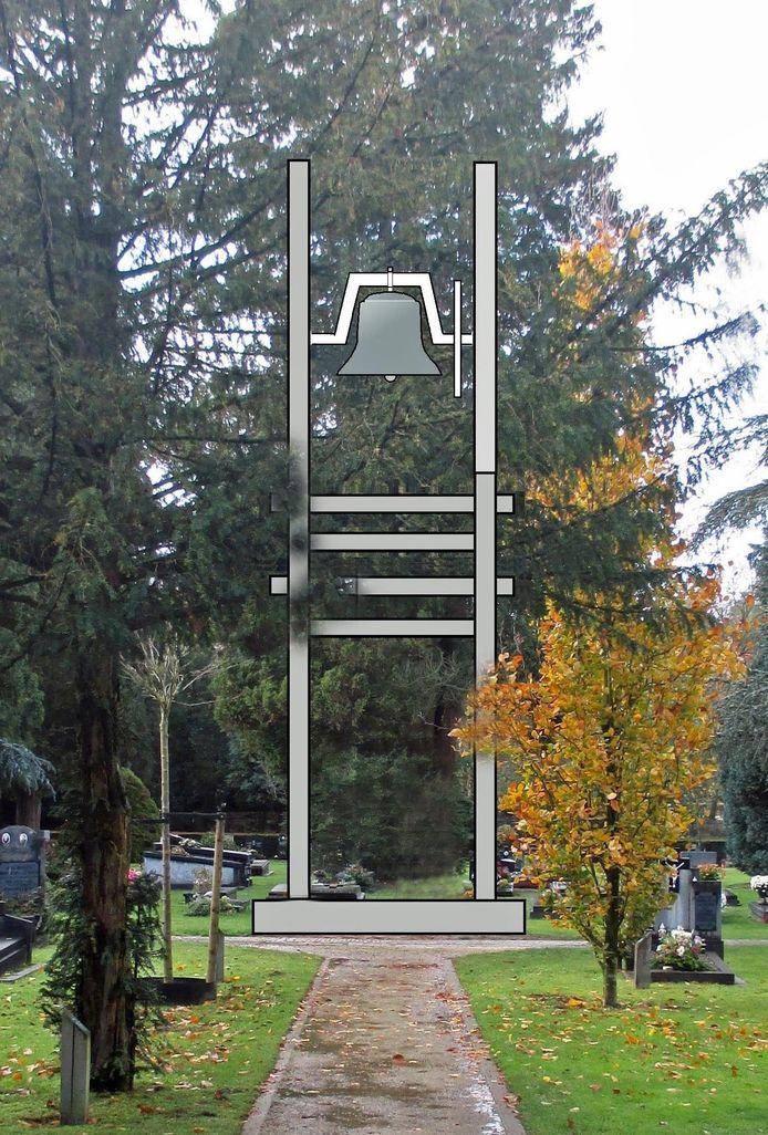Impressie van de klokkenstoel op de Oude Begraafplaats in Valkenswaard.