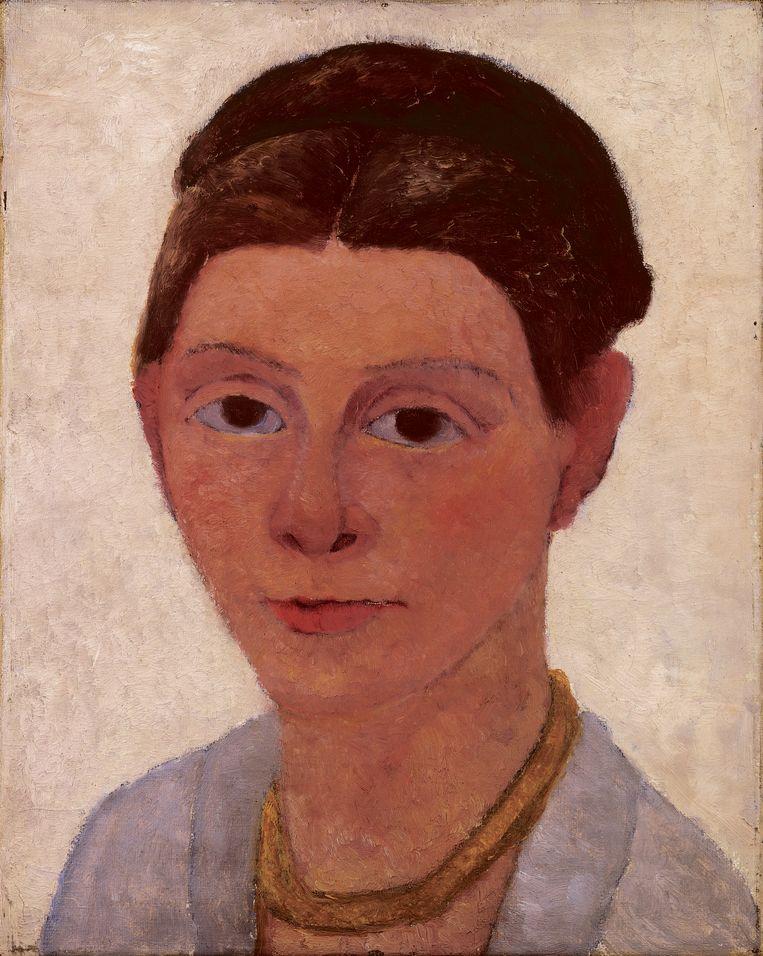 Zelfportret met Bernstein ketting, ca. 1905, Paula Modersohn-Becker-Stiftung.  Beeld Van Gogh Museum