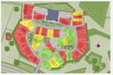 Plattegrond van Heesterburgh met kasteel (paars) en 49 woningen.