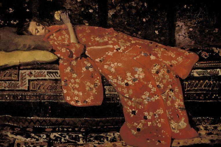 George Breitner; De rode kimono, ca 1893-1894. Beeld Collectie Stedelijk Museum Amsterdam