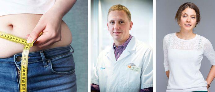 Bart Van der Schueren, professeur à la clinique de l'Obésité de l'UZ Leuven et la diététicienne Sanne Mouha.