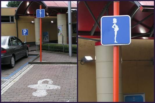 Parkeerplaats voor zwangere vrouwen met bord in België.