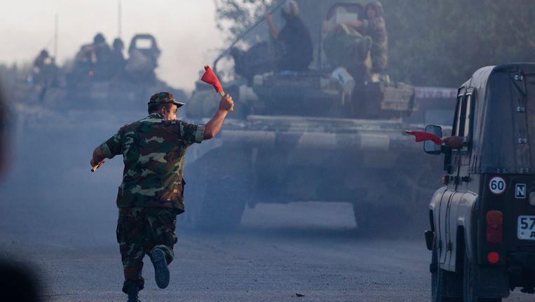 Archiefbeeld: Tanks uit Azerbeidjan bij de grens met Armenie, augustus 2014.