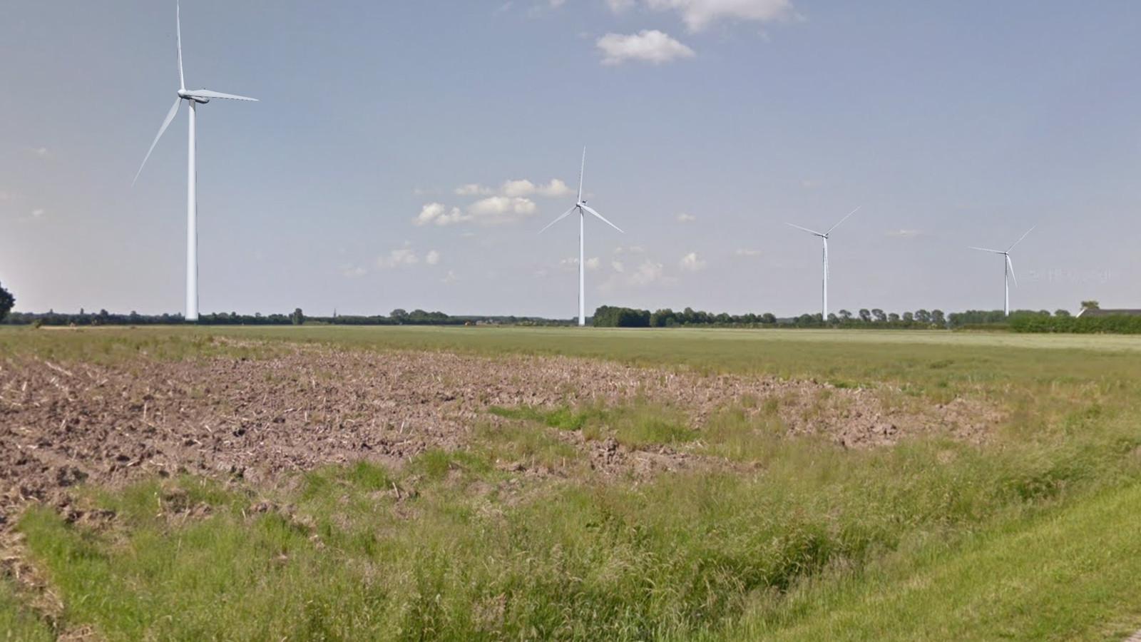 Visualisatie van de vier windmolens in Windpark Bijvanck, in het gebied tussen Angerlo en Loil.