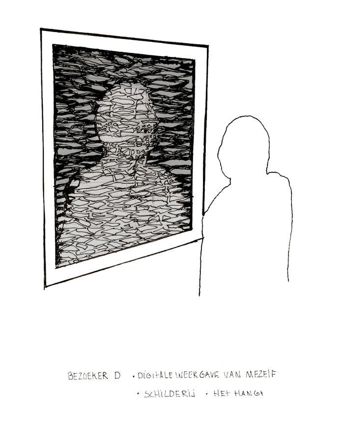 Julia Berg heeft mensen gevraagd een ontwerp te beschrijven en naar aanleiding van hun beschrijving heeft ze de objecten getekend. Digitale weergave van mezelf, Schilderij