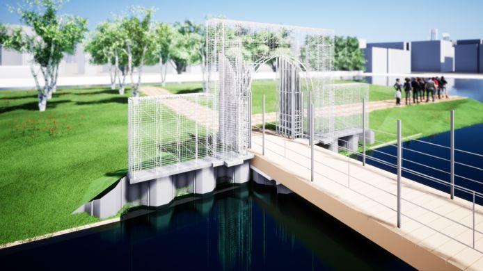 Huys Hengelo krijgt een nieuwe poort, een strakke, transparante, metalen constructie die weinig doet denken aan de originele zandstenen poort die nog altijd de ingang van landgoed Het Stroot aan de Twekkelerweg siert.