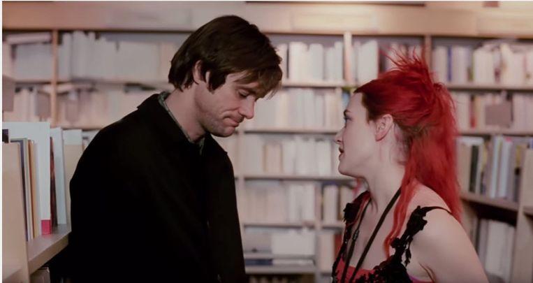 Jim Carrey en Kate Winslet in Eternal Sunshine of the Spotless Mind. Beeld