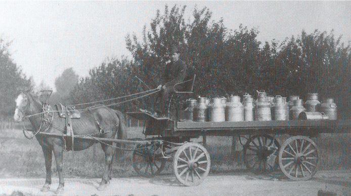 Boeren die wat bij willen verdienen worden 'melkrijer'en brengen de melkbussen naar de fabriek. Canon Maas en Waal.