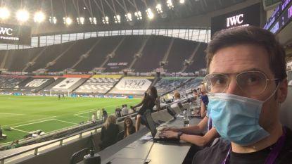 """""""U hoeft niet jaloers te zijn"""": het relaas van onze man in Engeland die als eerste Belgische journalist een coronamatch bijwoont"""
