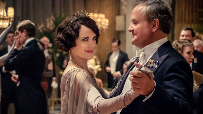 Elizabeth McGovern (Lady Grantham) en Hugh Bonneville (Robert Crawley)