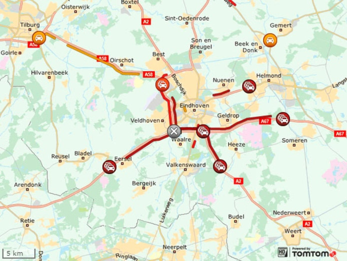 Overzicht van de files bij Eindhoven om 7.20 uur.