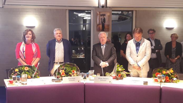De nieuwe wethouders, vlnr: Marijo Immink, Piet Poos, Johan Swaans en Bert Schellekens.