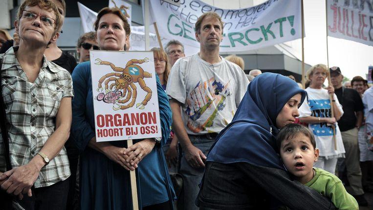 Ossenaren demonstreren in 2010 tegen de aangekondigde ontmanteling van Organon door eigenaar Merck. Beeld Marcel van den Bergh / de Volkskrant