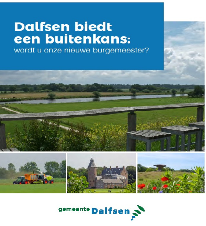 Voorblad van de wervende profielschets voor een nieuwe burgemeester van de gemeente Dalfsen.