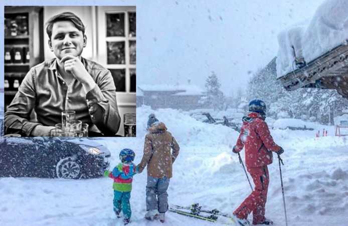 Job Temmink (in het rood) als skileraar in het skigebied. Linksboven een inzetje van de Oldenzaler.