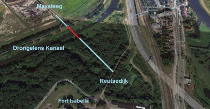 De locatie van de nieuwe 'Isabellabrug' in Vught.