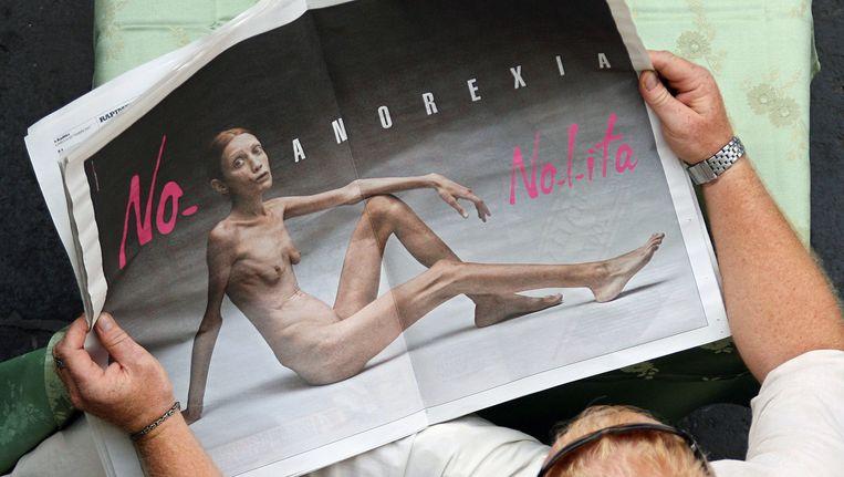 Advertentie tegen anorexia. Beeld afp