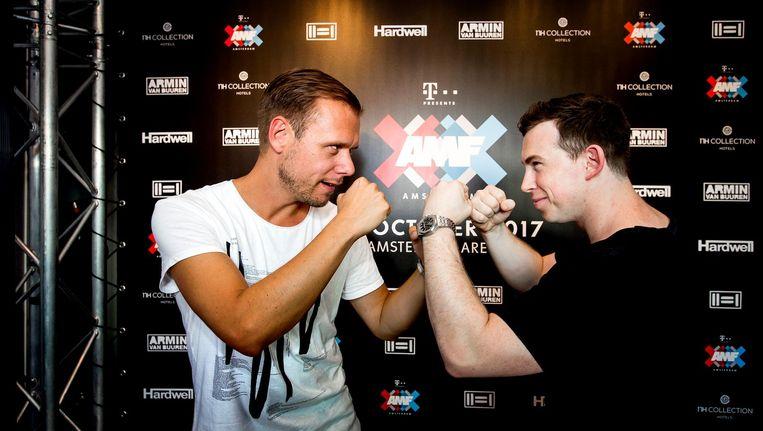DJ's Armin van Buuren en Hardwell maakten met een verrassingsoptreden bekend dat ze samen draaien op AMF, onderdeel van ADE. Beeld anp