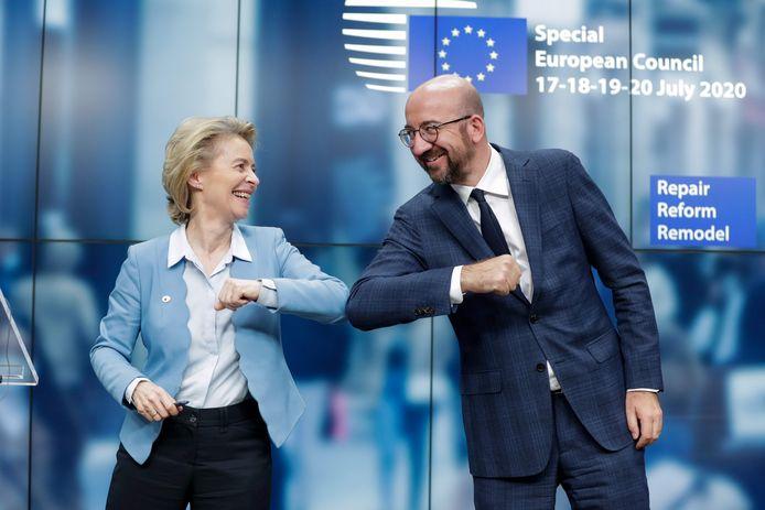 """Voorzitter van de Europese Raad Charles Michel, hier met zijn evenknie van de Commissie Ursula von der Leyen: ,,Dit is een bepalend moment voor Europa."""""""