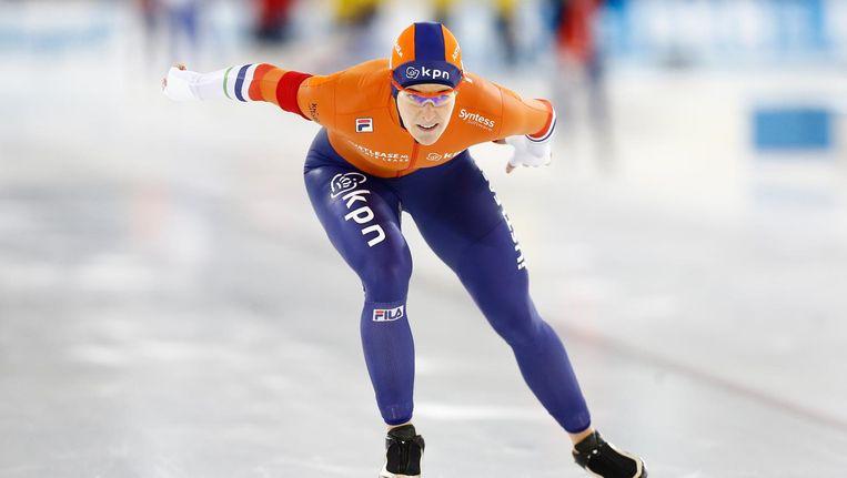 Ireen Wust in actie op de 1500 meter tijdens de World Cup in Thialf. Beeld null