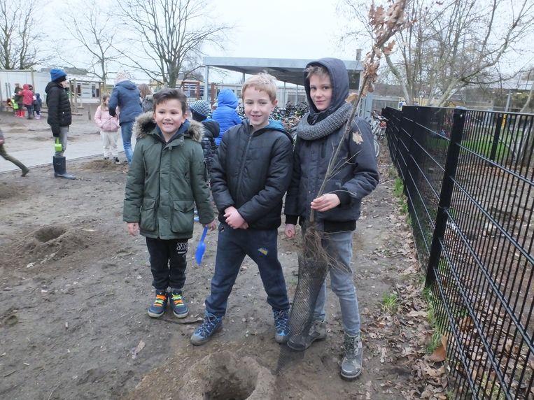 De leerlingen van Sint-Hendrik bij hun schoolbos.
