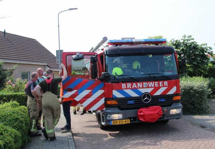 Brandweerlieden bij de brand in Sluis vanmiddag.