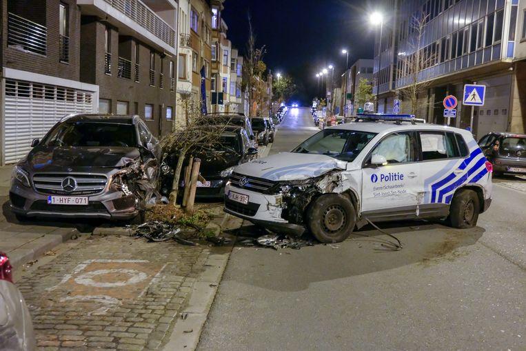 De bestuurder van de politiewagen verloor de controle over het stuur