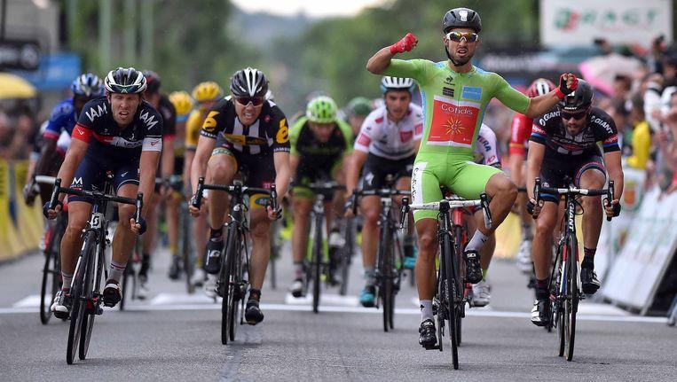 Jonas Van Genechten, uiterst links, kwam net tekort.