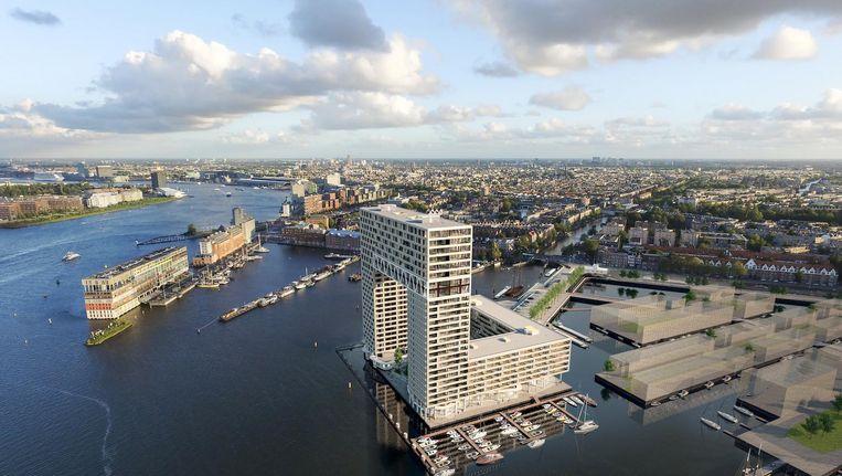 Het nog te bouwen Pontsteigergebouw met op de bovenste etage het penthouse van Yip. Beeld Arons en Gelauff architecten