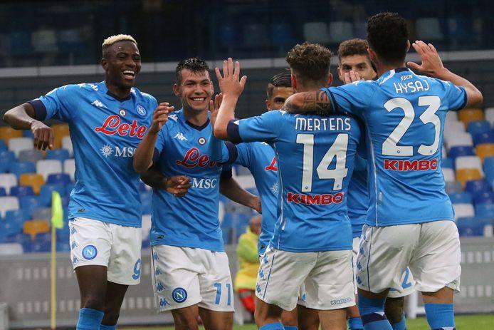 Feest bij Napoli na de 1-0.