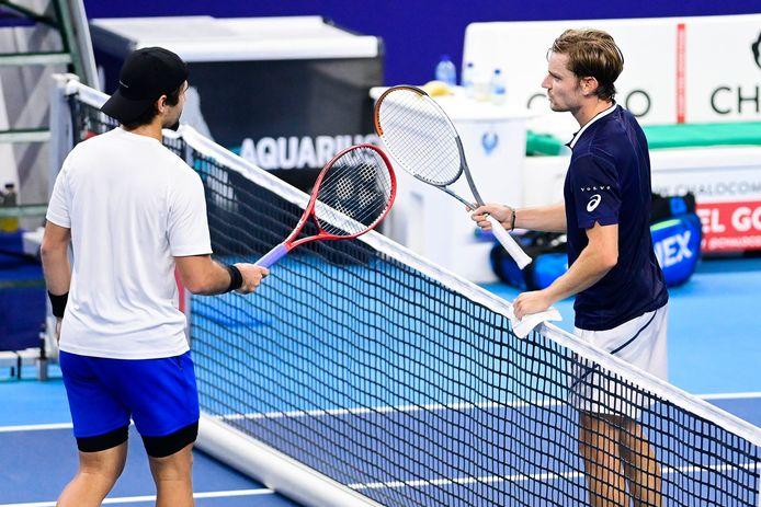Marcos Giron en David Goffin, die gisteren in actie kwamen op de European Open.