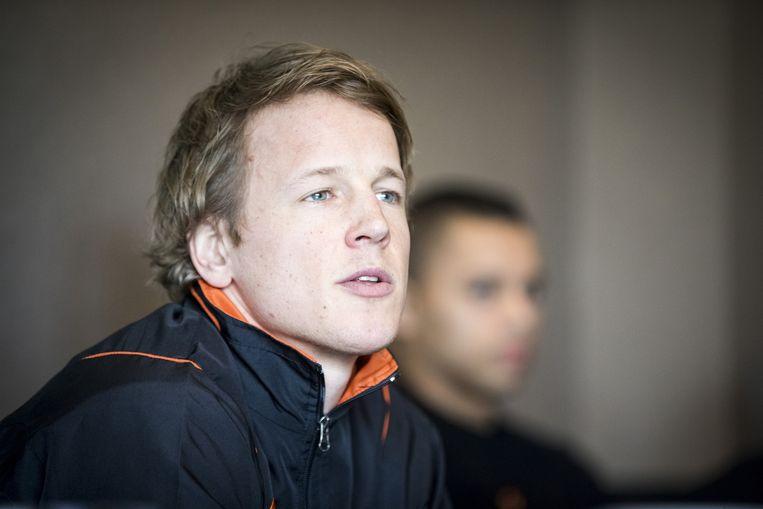 Epke Zonderland op de persconferentie voorafgaand aan de interlandwedstrijd in Waddinxveen. Beeld anp